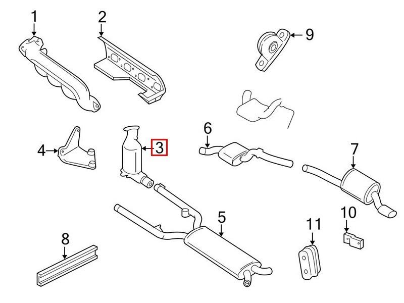 Exhaust downpipe catalyst Jaguar XK8