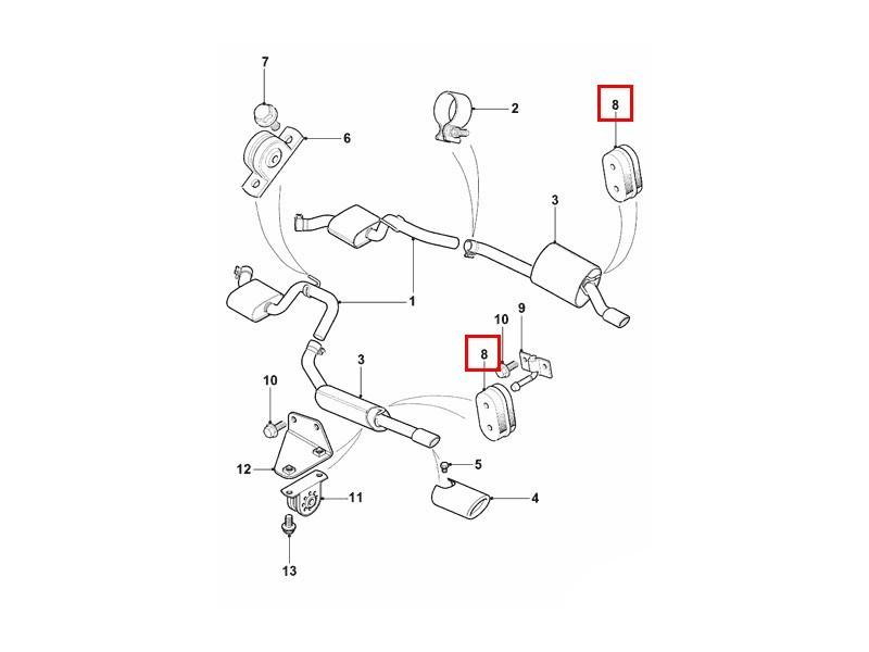 Rear Exhaust Rubber Mounting NJA6790AC Jaguar XK8 & XKR