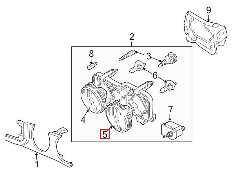 Outer headlamp (Dip beam) Jaguar XJ X308