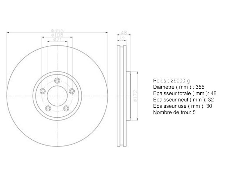 Front brake disc 355 mm Jaguar XJR X350