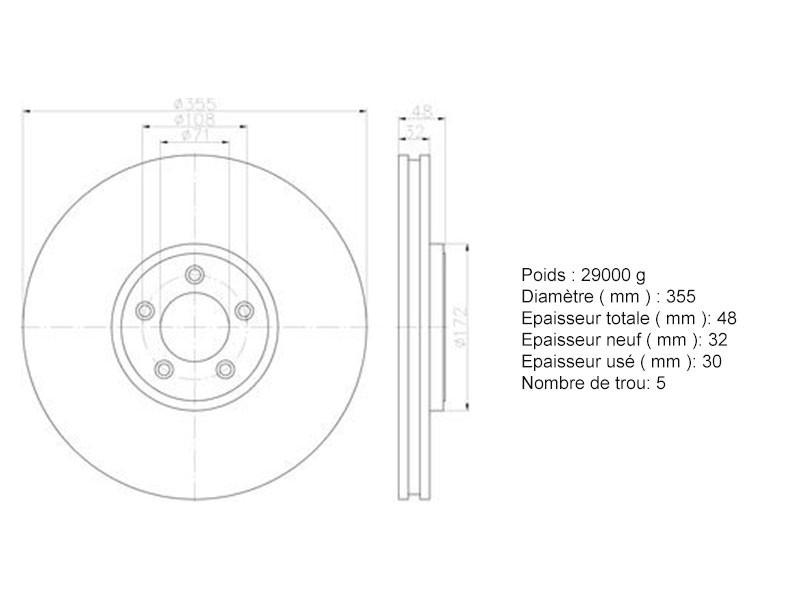 Front brake disc 355 mm Jaguar XJ X351
