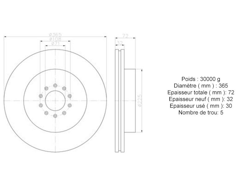 Disque de frein avant 365 mm C2C8355 Jaguar XJR X350 / S-Type R